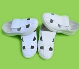 防静电新款白色SPU白革四孔鞋 软底工厂厂鞋无尘室净化鞋单鞋