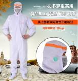 新款时尚食品厂食品车间工作服防护服 车间洁净服 无尘服 白色