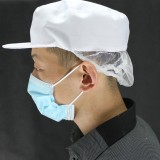 食品车间涤卡帽 带发网工作帽 防护帽